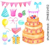 watercolor birthday party... | Shutterstock .eps vector #294831452