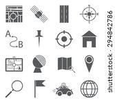 set of 16 simple gps navigation ... | Shutterstock .eps vector #294842786