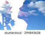 girl and sunflower   Shutterstock . vector #294843638
