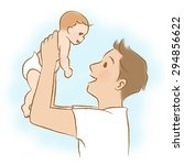 daddy to lift the baby.  | Shutterstock . vector #294856622