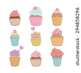 set with cute and delicious... | Shutterstock .eps vector #294858296