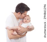young father holding and... | Shutterstock . vector #294861296