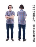 front and back view of handsome ... | Shutterstock . vector #294863852