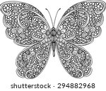 Stock vector hand drawn ornamental butterfly outline illustration with decorative ornaments 294882968