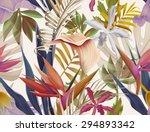 seamless tropical flower  plant ... | Shutterstock . vector #294893342