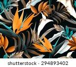 seamless tropical flower  plant ... | Shutterstock . vector #294893402