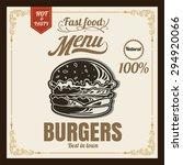 restaurant fast foods menu... | Shutterstock .eps vector #294920066