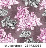 graphic hand drawn flowers...   Shutterstock . vector #294933098