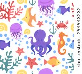 Seamless Marine Pattern. Sea ...