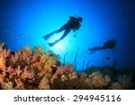 scuba diving on coral reef... | Shutterstock . vector #294945116
