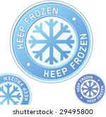 Keep frozen food product label sticker for use in websites, print materials, and product packaging - stock vector