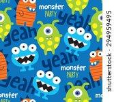 seamless monster pattern vector ... | Shutterstock .eps vector #294959495