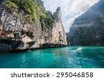 mountain and sea landscape... | Shutterstock . vector #295046858