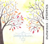 Watercolor Autumn Trees With...
