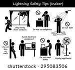 lightning thunder indoor safety ... | Shutterstock .eps vector #295083506