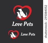 Stock vector love pets vector logo template 295084052