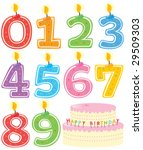 Numbered Birthday Candles and Cake Isolated