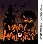 halloween greeting card with... | Shutterstock .eps vector #295097012