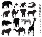 Stock vector set of african animals silhouettes vector illustration 295098155