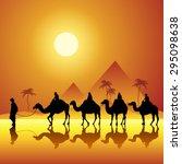 caravan with camels in desert... | Shutterstock .eps vector #295098638