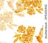 golden rose  hand drawn flower  ... | Shutterstock .eps vector #295102442