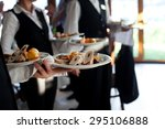 waiters carrying plates with... | Shutterstock . vector #295106888