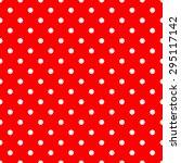 white polka dots on red... | Shutterstock .eps vector #295117142