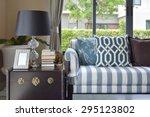 blue pattern pillows on striped ... | Shutterstock . vector #295123802