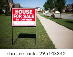 house for sale by owner sign in ... | Shutterstock . vector #295148342
