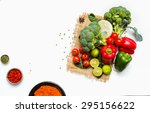 group of indian spices and... | Shutterstock . vector #295156622