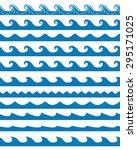 Set Of 11 Blue Seamless Waves...