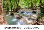 waterfall in deep lush forest... | Shutterstock . vector #295179992