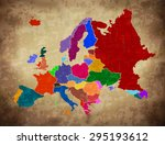 multicolor grunge europe map  ... | Shutterstock .eps vector #295193612