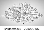 background image with sketches... | Shutterstock . vector #295208432