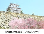world heritage in spring: Himeji castle near Kobe, Japan - stock photo