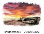 Watercolor Seascape With Old...