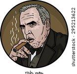 rich man with a cigar portrait | Shutterstock .eps vector #295213622