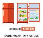 refrigerator with the door...   Shutterstock .eps vector #295233956