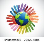 hands international diversity... | Shutterstock .eps vector #295234886
