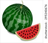 watermelon and piece of... | Shutterstock . vector #295240676