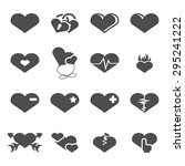 vector grey hearts icons set on ... | Shutterstock .eps vector #295241222
