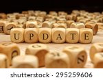 update word written on wood... | Shutterstock . vector #295259606