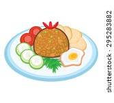 fried rice with egg  vegetables ... | Shutterstock .eps vector #295283882