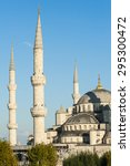 blue mosque lit by a evening... | Shutterstock . vector #295300472