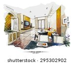 vector interior sketch design.... | Shutterstock .eps vector #295302902