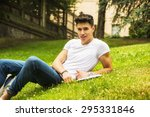 young male student studying his ... | Shutterstock . vector #295331846
