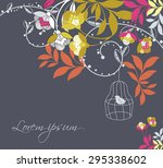 vintage vector card with bird | Shutterstock .eps vector #295338602
