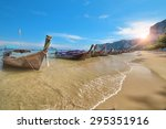 longtail boat at famous sunny... | Shutterstock . vector #295351916