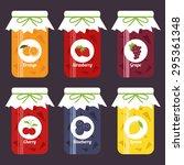 set of fruity jam jars  orange  ... | Shutterstock .eps vector #295361348
