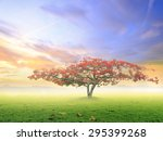 alone tree on meadow sunset. | Shutterstock . vector #295399268